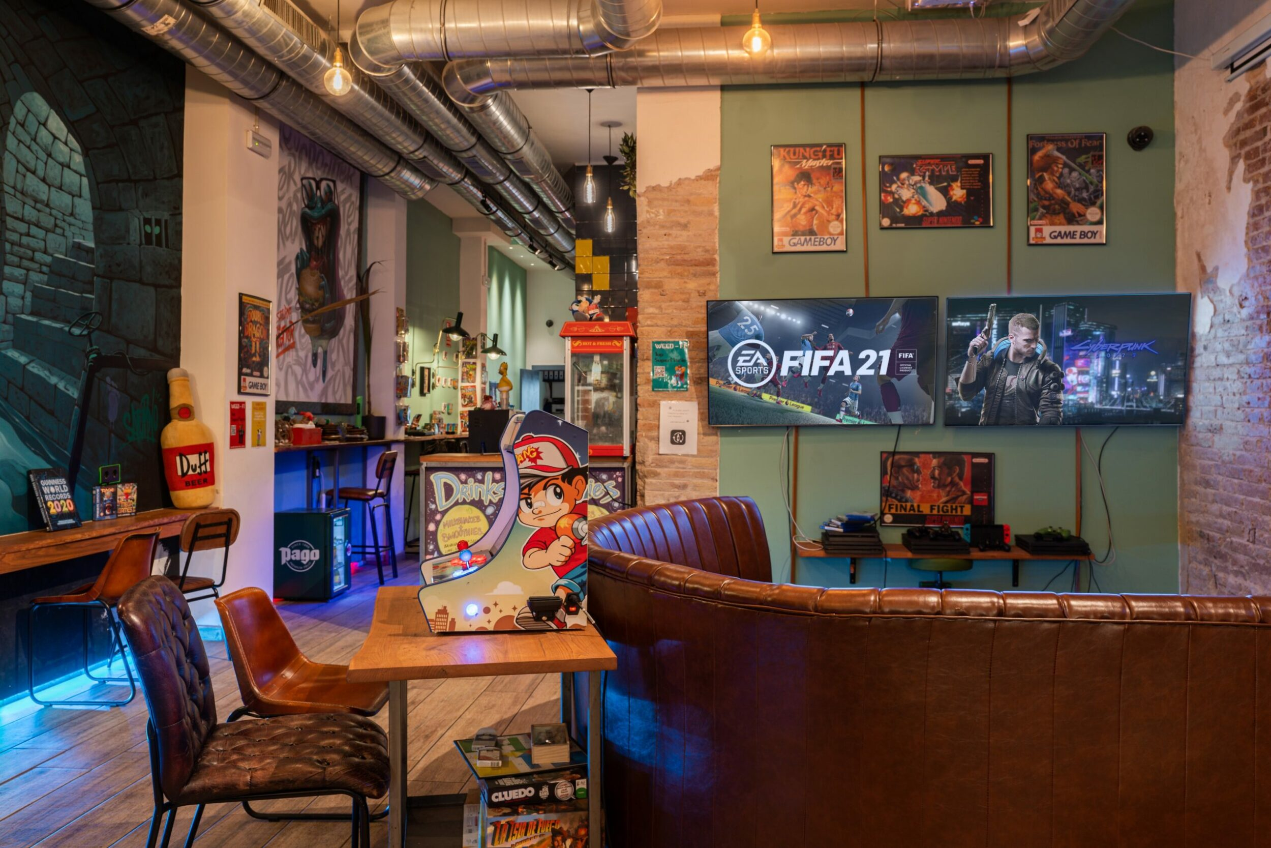 For large screens for playing playstation games in Weed Club Eixample