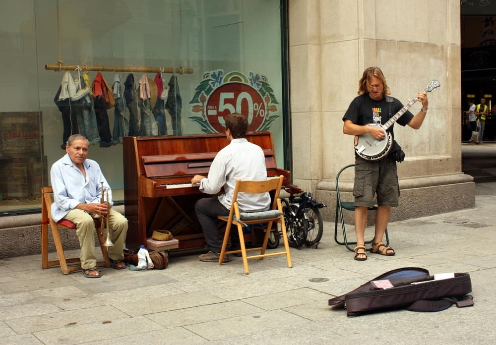 Street trio of musicians on the street in Barcelona
