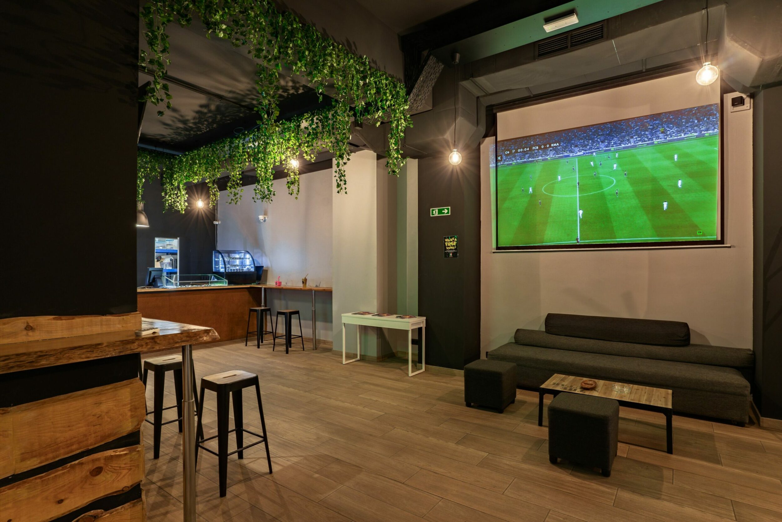 large screen for watching football at the club