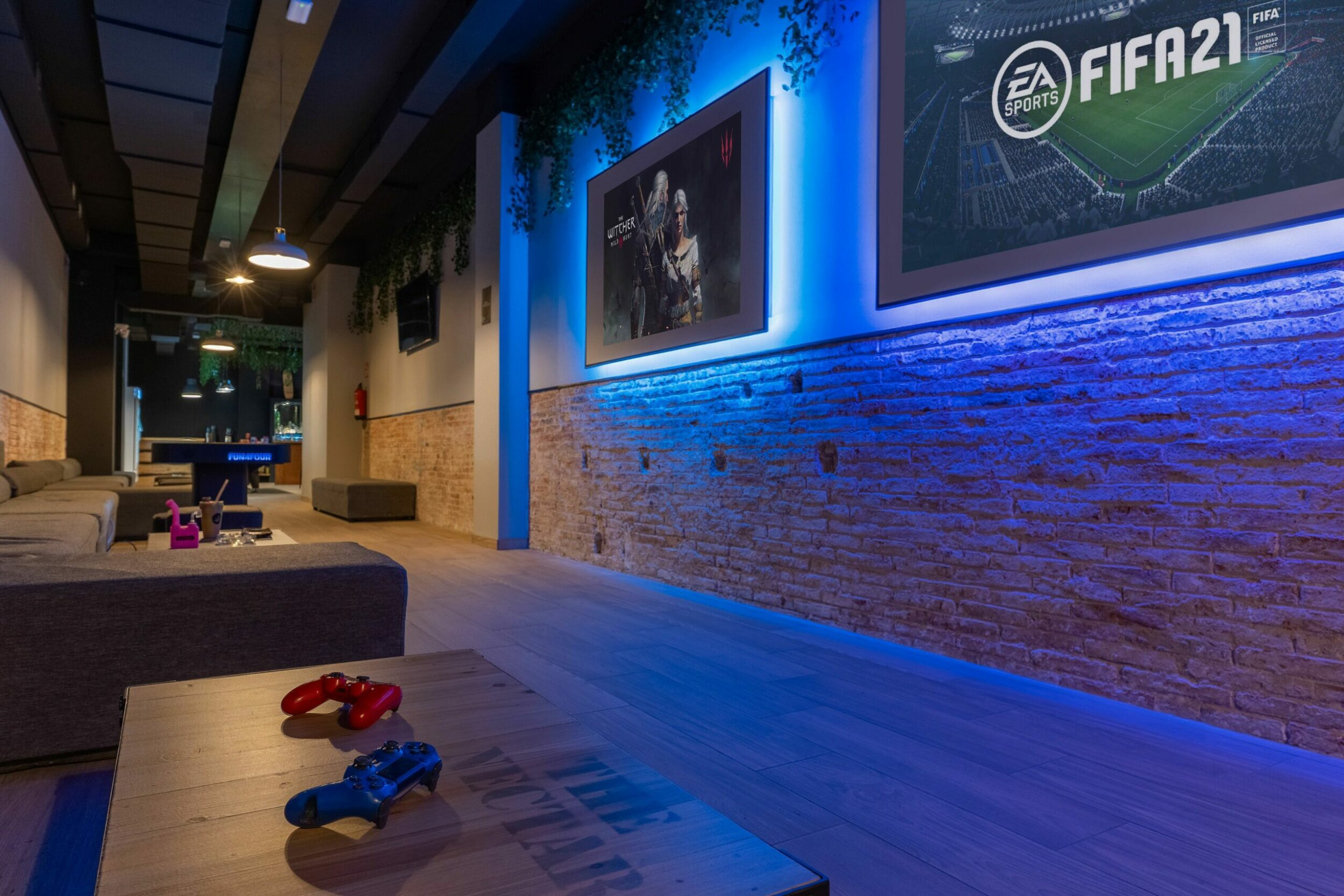 Soft sofas and a Playstation in weed club