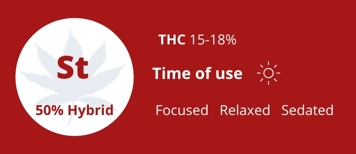 Hybrid types of weed Strawberry THC 15-18% photo